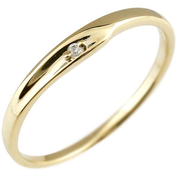 ダイヤモンド ピンキーリング イエローゴールドk10 ダイヤ 10金 極細 華奢 指輪