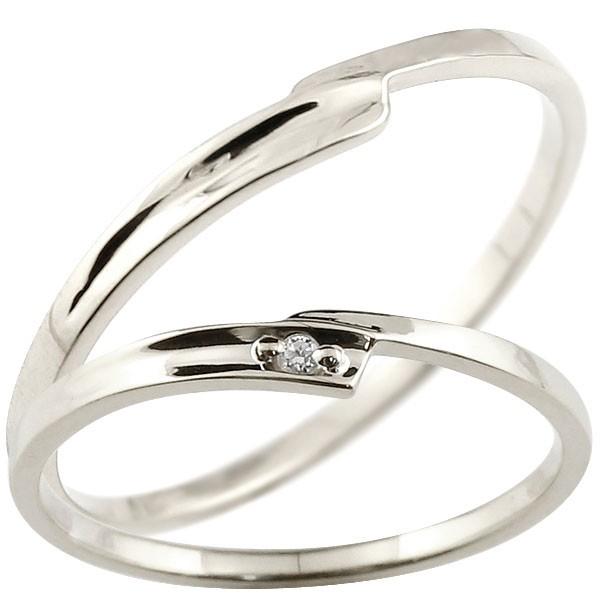 ペアリング 結婚指輪 マリッジリング ダイヤモンド ホワイトゴールドk18 ダイヤ 18金 極細 華奢 スパイラル 結婚式