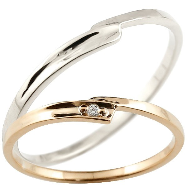 ペアリング 結婚指輪 マリッジリング ダイヤモンド ピンクゴールドk18 ホワイトゴールドk18 ダイヤ 18金 極細 華奢 スパイラル 結婚式