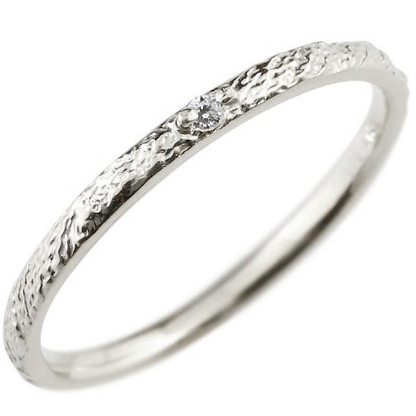 ダイヤモンド ピンキーリング ダイヤ ホワイトゴールドk10 極細 10金 華奢 アンティーク ストレート 指輪
