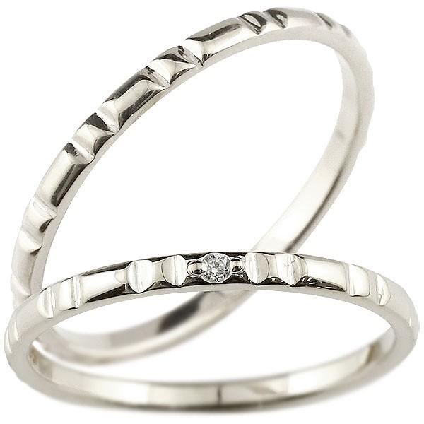 ペアリング 結婚指輪 マリッジリング ダイヤモンド ホワイトゴールドk18 ダイヤ 18金 極細 華奢 結婚式 ストレート