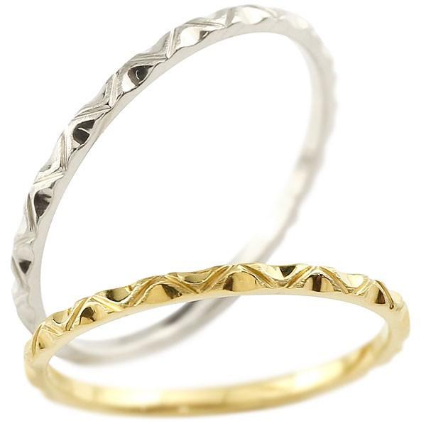 ペアリング 結婚指輪 マリッジリング イエローゴールドk10 ホワイトゴールドk10 k10wg 極細 華奢 アンティーク 結婚式 ストレート ペアリィー