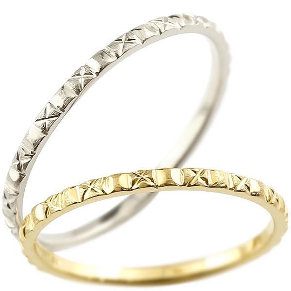 ペアリング 結婚指輪 マリッジリング イエローゴールドk18 ホワイトゴールドk18 k18wg 極細 華奢 アンティーク 結婚式 ストレート ペアリィー