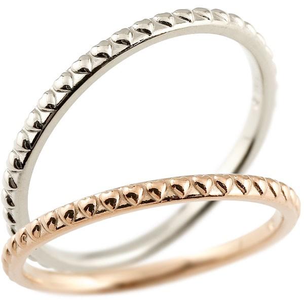 ペアリング 結婚指輪 マリッジリング ハート ピンクゴールドk18 ホワイトゴールドk18 極細 華奢 アンティーク 18金 結婚式 ストレート ペアリィー