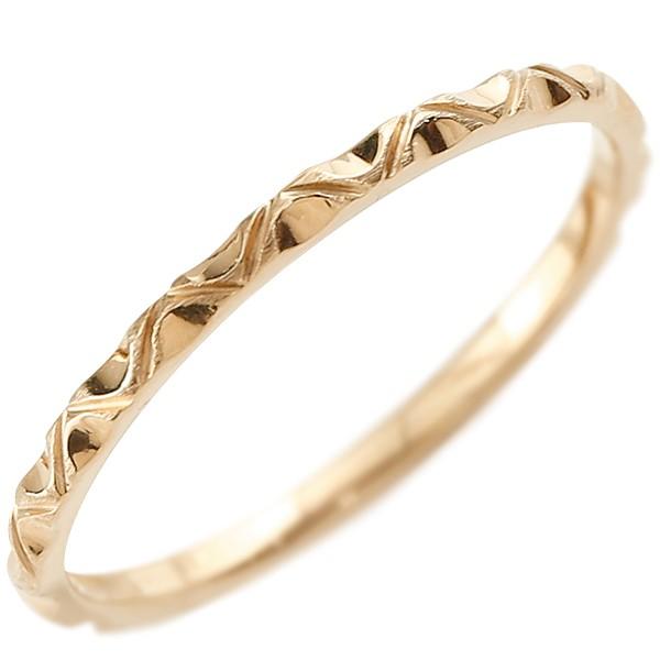 ゴールドリング ピンキーリング k18 極細 華奢 アンティーク ストレート 指輪 地金リング