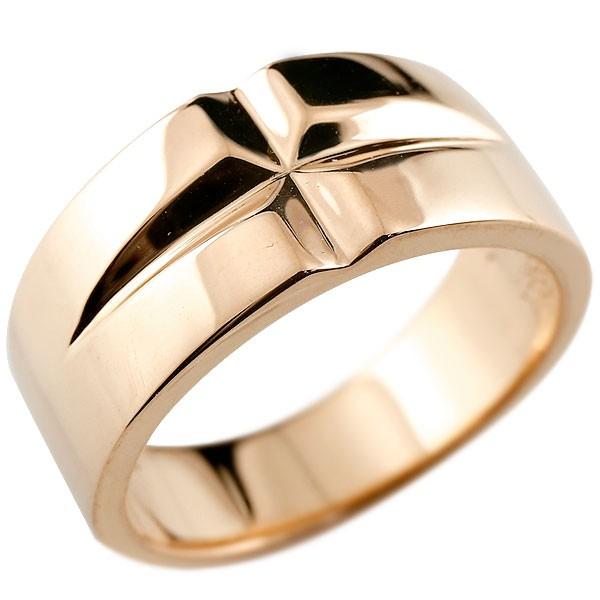 クロス リング ピンクゴールドk10 幅広 指輪 ピンキーリング 地金 ストレート 10金 レディース