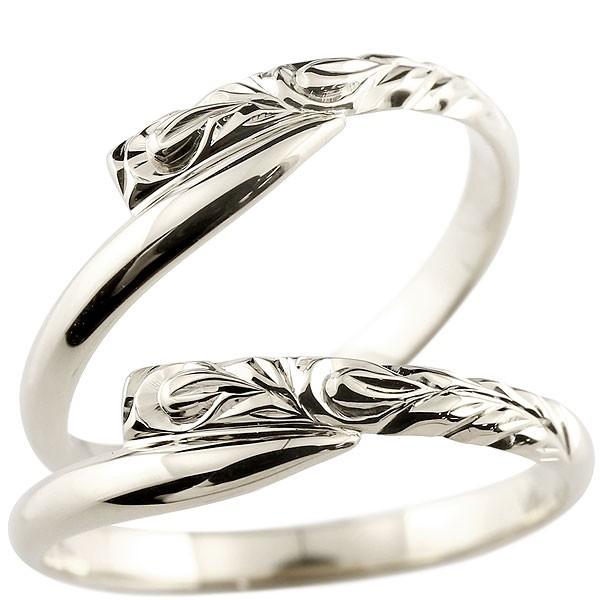 ハワイアンジュエリー ペアリング 結婚指輪 マリッジリング ホワイトゴールドk10 ハワイアンリング スパイラル 地金 k10 カップル