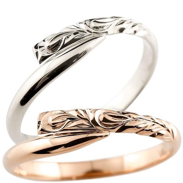 ハワイアンジュエリー ペアリング 結婚指輪 マリッジリング ホワイトゴールド ピンクゴールドk18 ハワイアンリング スパイラル 地金 k18 カップル