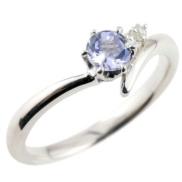 婚約指輪 エンゲージリング タンザナイト ホワイトゴールドリング ダイヤモンド 指輪 ピンキーリング 一粒 大粒 k18 レディース 12月誕生石