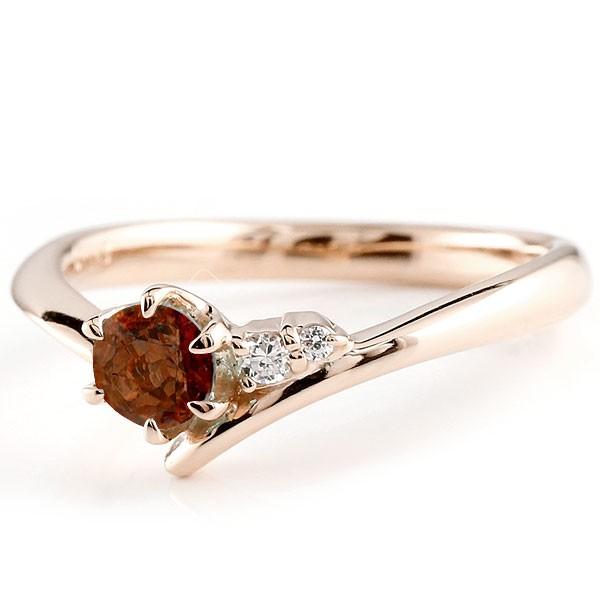 婚約指輪 エンゲージリング ガーネット ピンクゴールドリング ダイヤモンド 指輪 ピンキーリング 一粒 大粒 k18 レディース 1月誕生石