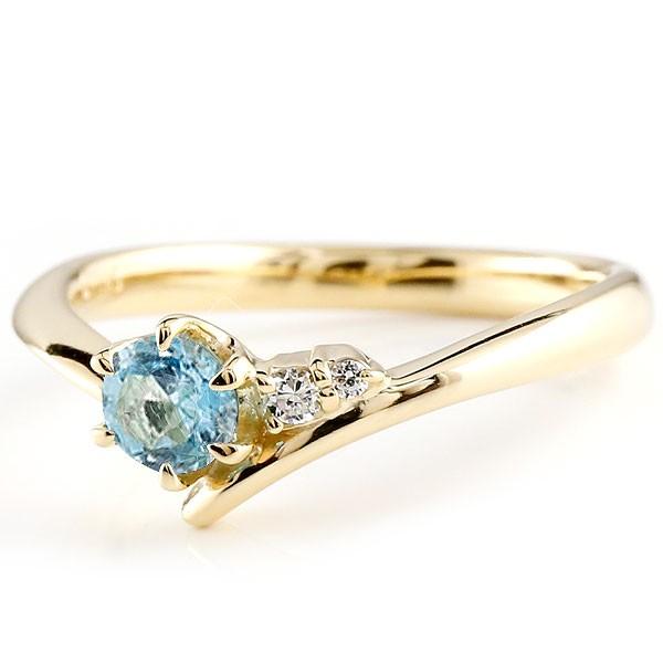婚約指輪 エンゲージリング ブルートパーズ イエローゴールドリング ダイヤモンド 指輪 ピンキーリング 一粒 大粒 k10 レディース 11月誕生石