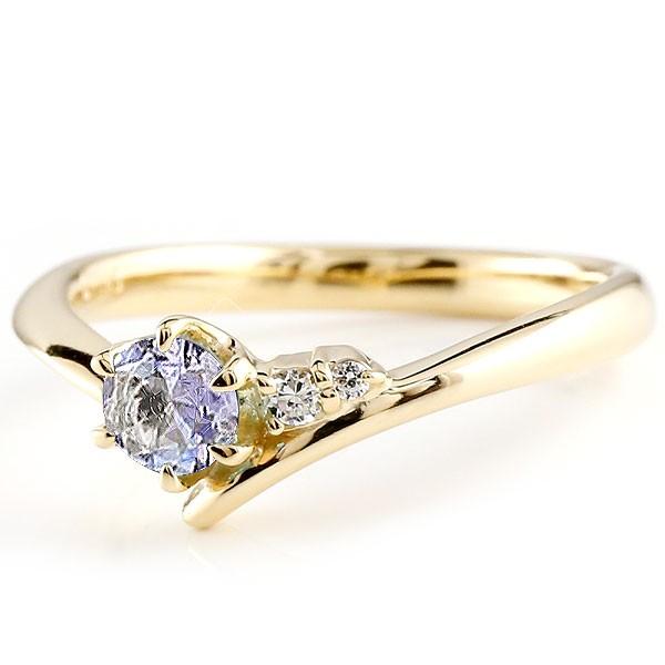 婚約指輪 エンゲージリング タンザナイト イエローゴールドリング ダイヤモンド 指輪 ピンキーリング 一粒 大粒 k18 レディース 12月誕生石
