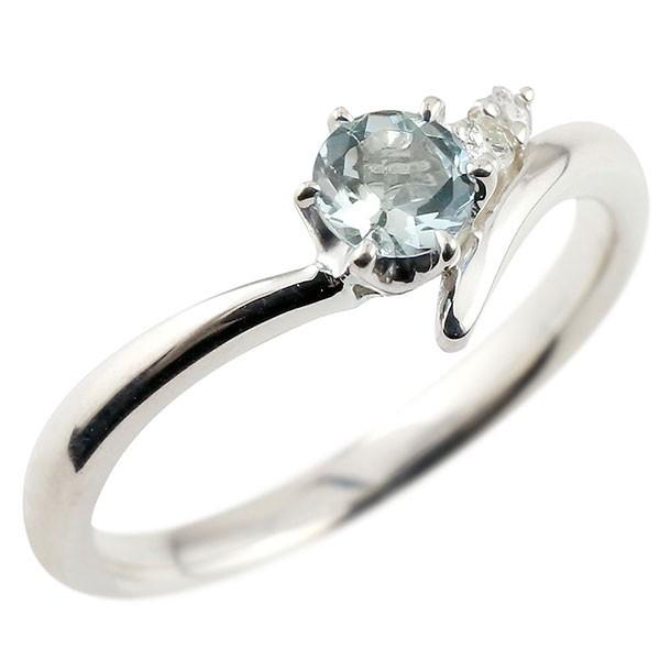 アクアマリン シルバーリング ダイヤモンド 指輪 ピンキーリング 一粒 大粒 sv925 レディース 3月誕生石