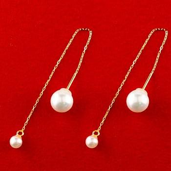 パール ロングピアス あこや本真珠 真珠 イエローゴールドk18 18金 パールキャッチ ロングピアス アメリカンピアス レディース ピアス揺れる18k 18金