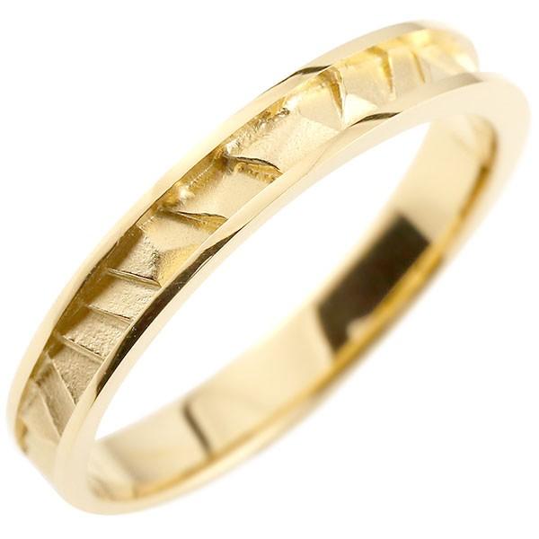 イエローゴールドリング 指輪 ピンキーリング 地金リング つや消し シンプル