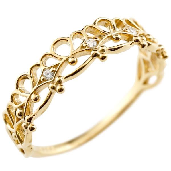 ダイヤモンド ゴールドリング ピンキーリング レース模様 ダイヤ k18 極細 華奢 アンティーク ストレート 指輪