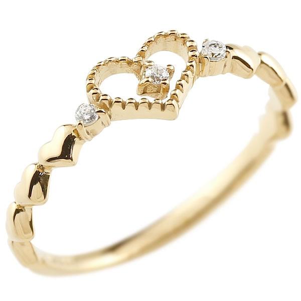 ダイヤモンド ゴールドリング ピンキーリング ダイヤ k10 極細 華奢 アンティーク ストレート 指輪