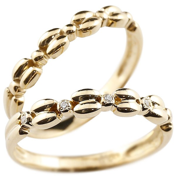 ダイヤモンド ゴールドリング ペアリング ダイヤ k18 極細 華奢 アンティーク ストレート 指輪