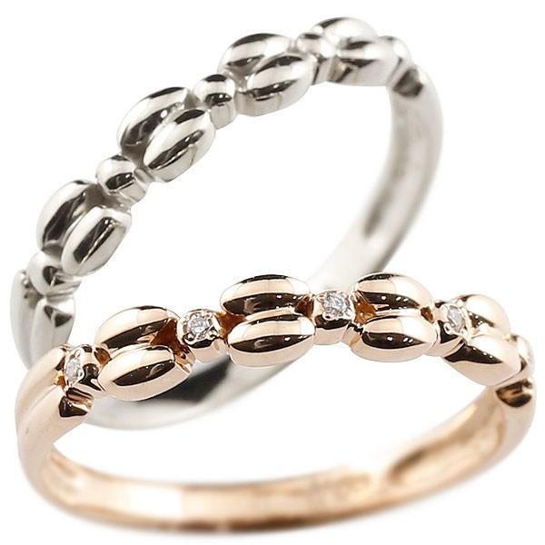 ダイヤモンド ホワイトゴールドリング ペアリング ダイヤ k10 極細 華奢 アンティーク ストレート 指輪
