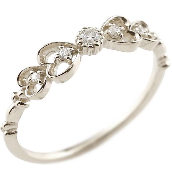 ダイヤモンド シルバーリング ピンキーリング りぼん リボン ダイヤ sv925 極細 華奢 アンティーク ストレート 指輪