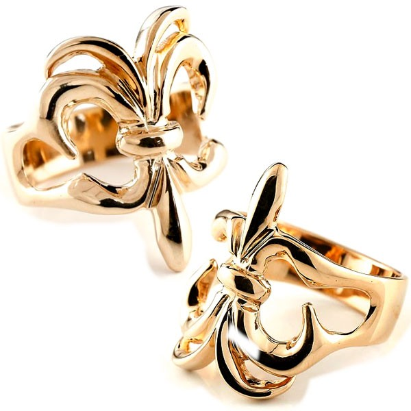 メンズ ピンクゴールド ユリの紋章 ペアリング 指輪 ペアリング k18 男性用