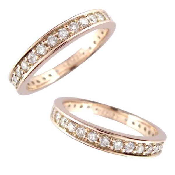 レディース ペアリング マリッジリング 結婚指輪 ダイヤモンド エタニティ ピンクゴールドk18 エタニティリング 18金 ダイヤ ストレート トラスト
