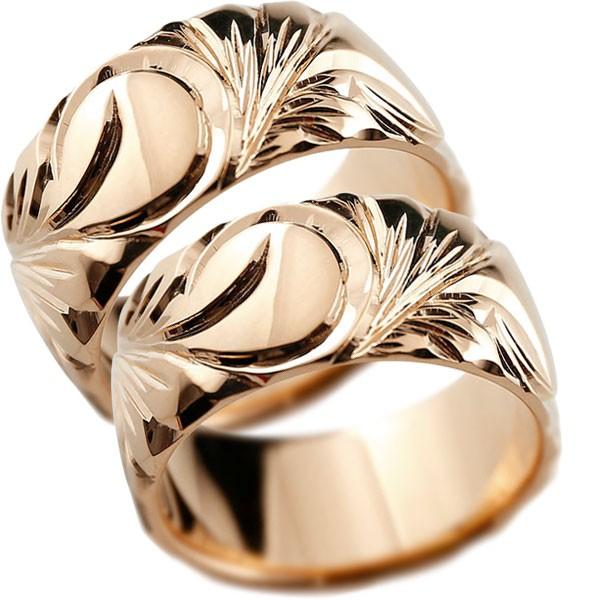 ハワイアンジュエリー ピンクゴールドリング 幅広 指輪  ハワイアンリング 地金リング  ペアリング 結婚指輪