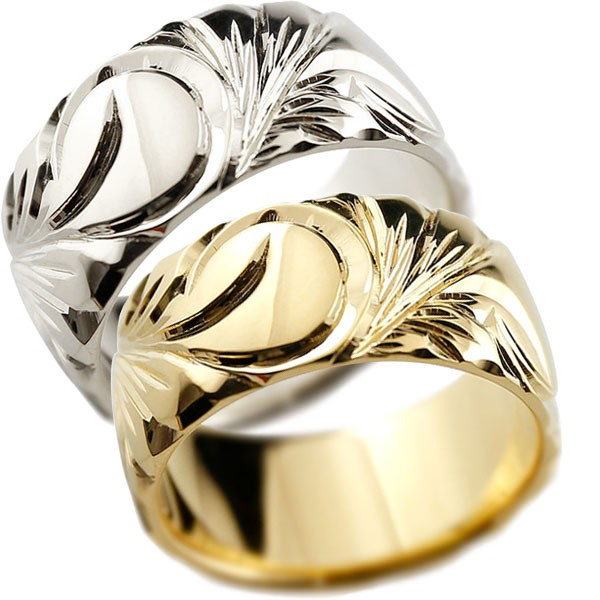 ハワイアンジュエリー プラチナ イエローゴールドk18 リング 幅広 指輪  ハワイアンリング 地金リング  ペアリング 結婚指輪