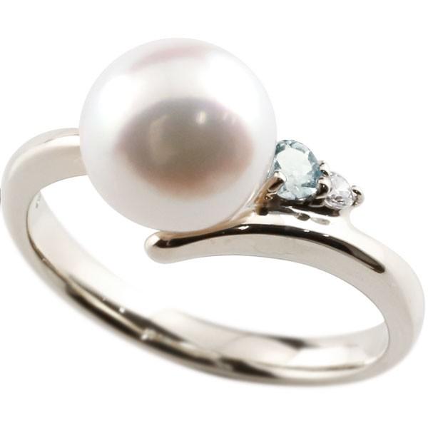 エンゲージリング 婚約指輪 真珠 パール アクアマリン シルバー925 リング ダイヤモンド ダイヤ 指輪