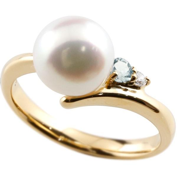 エンゲージリング 婚約指輪 真珠 パール アクアマリン イエローゴールドk10 リング ダイヤモンド ダイヤ 指輪