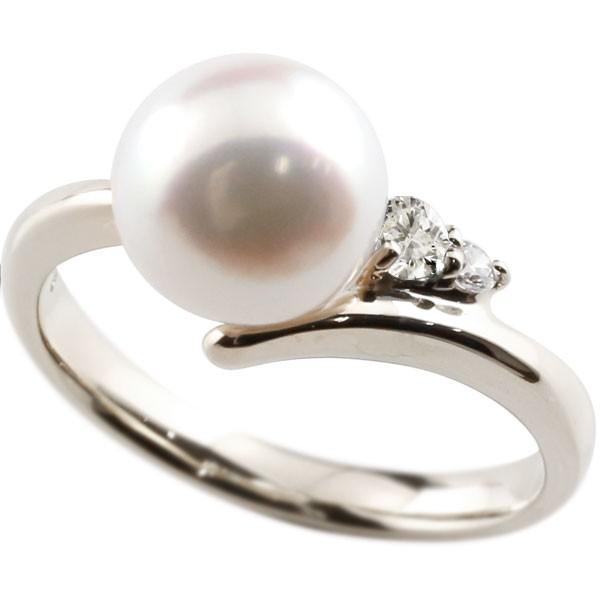 エンゲージリング 婚約指輪 真珠 パール ダイヤモンド プラチナ900 リング ダイヤモンド ダイヤ 指輪