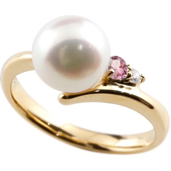 エンゲージリング 婚約指輪 真珠 パール ピンクトルマリン イエローゴールドk18 リング ダイヤモンド ダイヤ 指輪