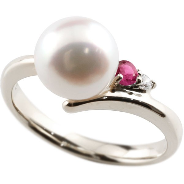 エンゲージリング 婚約指輪 真珠 パール ルビー プラチナ900 リング ダイヤモンド ダイヤ 指輪