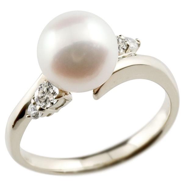 エンゲージリング 婚約指輪 真珠 パール ダイヤモンド ホワイトゴールドk10 リング ダイヤモンド ダイヤ 指輪