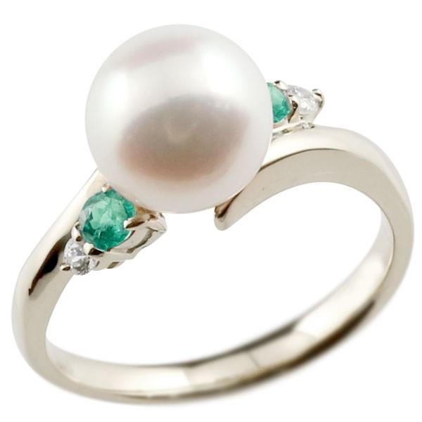 エンゲージリング 婚約指輪 真珠 パール エメラルド プラチナ900 リング ダイヤモンド ダイヤ 指輪