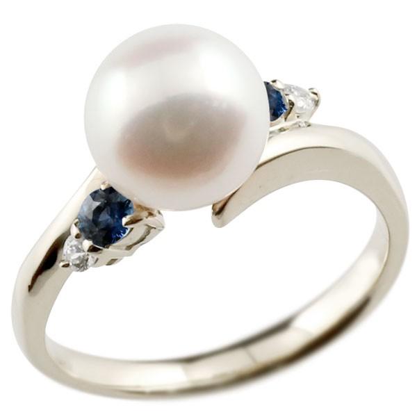 エンゲージリング 婚約指輪 真珠 パール サファイア ホワイトゴールドk18 リング ダイヤモンド ダイヤ 指輪