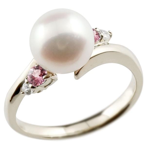 ピンキーリング 真珠 パール ピンクトルマリン プラチナ900 リング ダイヤモンド ダイヤ 指輪