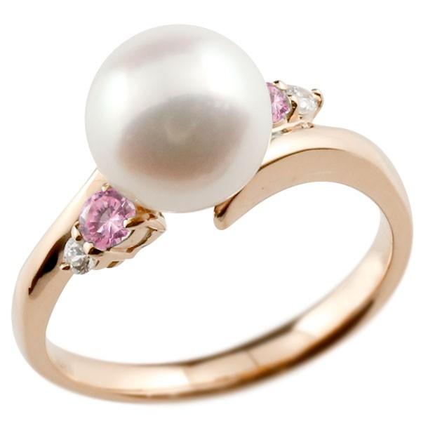 エンゲージリング 婚約指輪 真珠 パール ピンクサファイア ピンクゴールドk10 リング ダイヤモンド ダイヤ 指輪