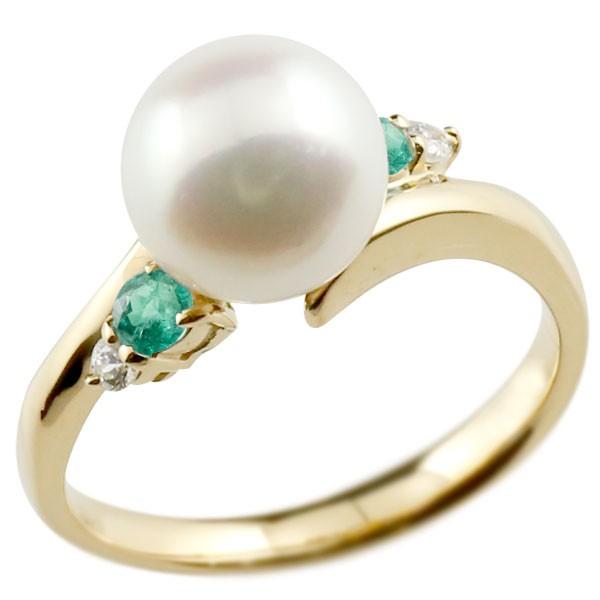 エンゲージリング 婚約指輪 真珠 パール エメラルド イエローゴールドk18 リング ダイヤモンド ダイヤ 指輪