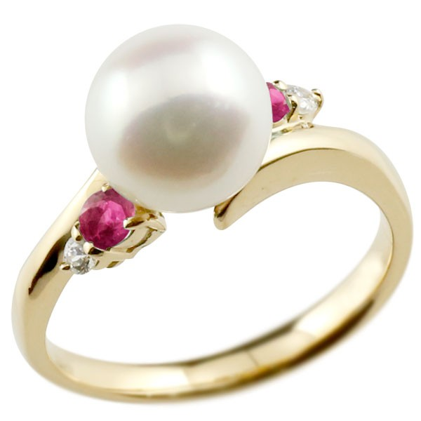 エンゲージリング 婚約指輪 真珠 パール ルビー イエローゴールドk10 リング ダイヤモンド ダイヤ 指輪