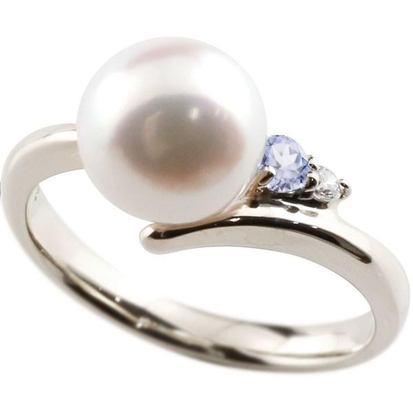 エンゲージリング 婚約指輪 真珠 パール タンザナイト シルバー925 リング ダイヤモンド ダイヤ 指輪