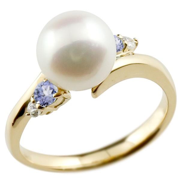 エンゲージリング 婚約指輪 真珠 パール タンザナイト イエローゴールドk18 リング ダイヤモンド ダイヤ 指輪