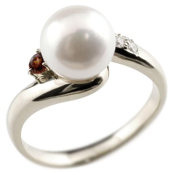 ピンキーリング 真珠 パール ガーネット プラチナ900 リング キュービックジルコニア キュービック 指輪