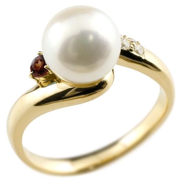 エンゲージリング 婚約指輪 真珠 パール ガーネット イエローゴールドk18 リング ダイヤモンド ダイヤ 指輪