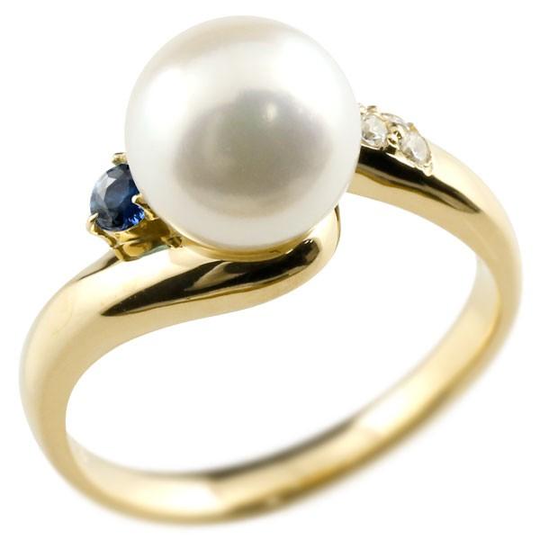 ピンキーリング 真珠 パール サファイア イエローゴールドk18 リング キュービックジルコニア キュービック 指輪