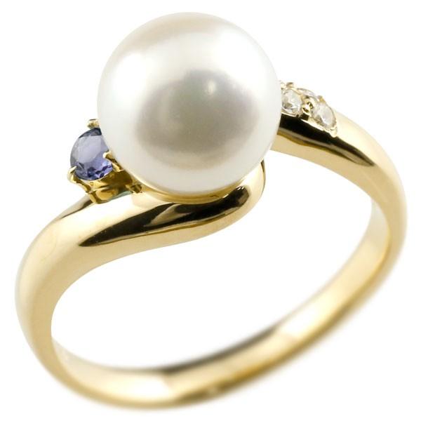 エンゲージリング 婚約指輪 真珠 パール アイオライト イエローゴールドk18 リング ダイヤモンド ダイヤ 指輪