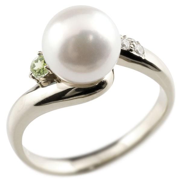 エンゲージリング 婚約指輪 真珠 パール ペリドット ホワイトゴールドk18 リング キュービックジルコニア キュービック 指輪