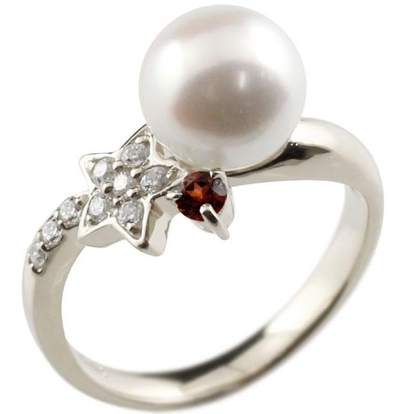 ピンキーリング 真珠 パール ガーネット プラチナ900 リング ダイヤモンド ダイヤ 指輪