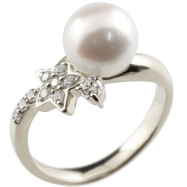 ピンキーリング 真珠 パール キュービックジルコニア プラチナ900 リング キュービックジルコニア キュービック 指輪