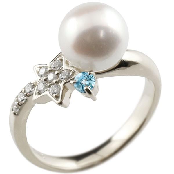 エンゲージリング 婚約指輪 真珠 パール ブルートパーズ ホワイトゴールドk18 リング ダイヤモンド ダイヤ 指輪